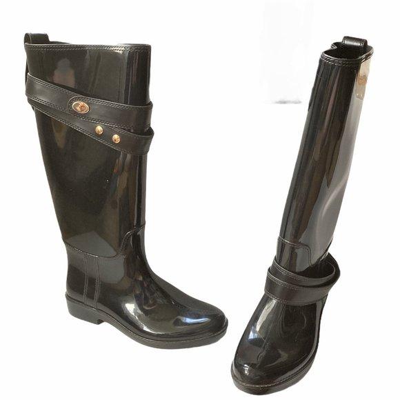 NEW Womens Coach Talia Rubber Rain Tall Boots
